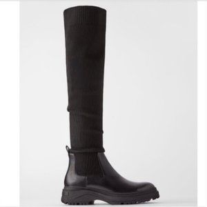 New Zara Over The Knee Ribbed Lug Sole Sock Boots Size 38, US 7.5